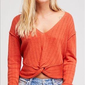 Orange knitted Free People sweater